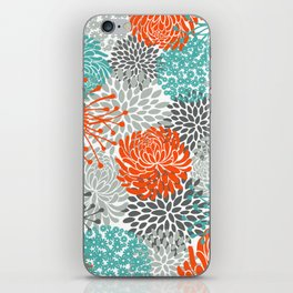 Orange and Teal Floral Abstract Print iPhone Skin