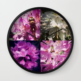 Rhododendron & dragonfly Wall Clock
