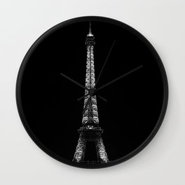 Paris Eiffel Tower in Black and White Wall Clock
