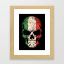 Dark Skull with Flag of Italy Framed Art Print