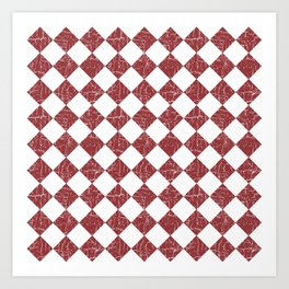 Rustic Farmhouse Checkers in Brick Red and White Art Print