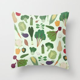 Make Friends With Vegetables Throw Pillow