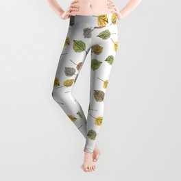 Colorado Aspen Tree Leaves Hand-painted Watercolors in Golden Autumn Shades on Clear Leggings