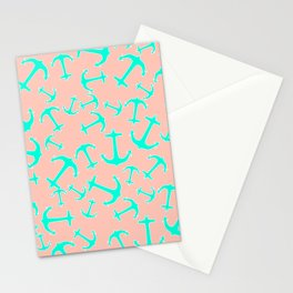 Tropical turquoise nautical anchors on pastel blush pink Stationery Cards