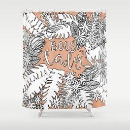 Boss Lady  - Peach Botanical Shower Curtain