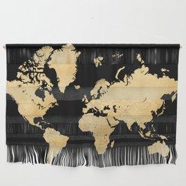 Sleek black and gold world map Wall Hanging