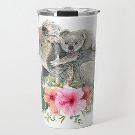 Watercolor Koala Bears Cute Mom & Baby Travel Mug