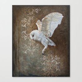 Flying grace - Barn owl painting Canvas Print