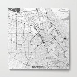 San Jose Map Gray Metal Print