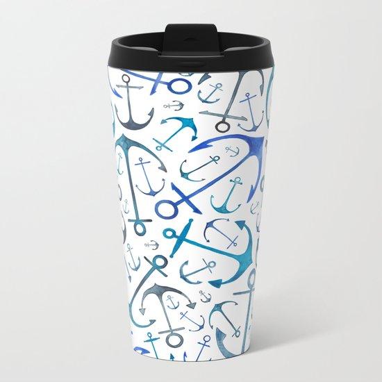 Nautical Watercolour Anchors Metal Travel Mug