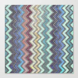 Colorful Silver Chevron Pattern Canvas Print