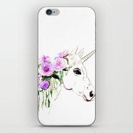 Unicorn with purple flowers iPhone Skin