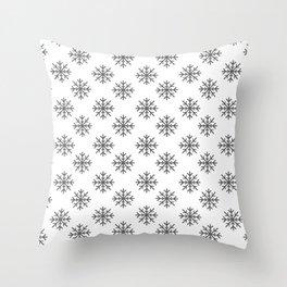 Snowflakes (Grey & White Pattern) Throw Pillow
