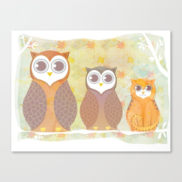 Owls and cat Canvas Print