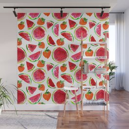 Watercolor watermelon and strawberries fruit illustration Wall Mural
