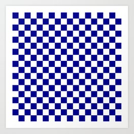 Jumbo Blue and White Australian Racing Flag Checked Checkerboard Art Print