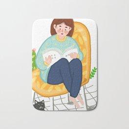 Reading Girl And Cat Bath Mat