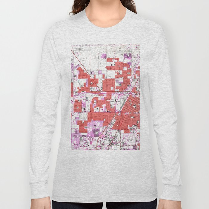 ab2ab1e3 Vintage Map Of Las Vegas Nevada 1967 Long Sleeve T Shirt By