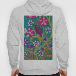 Starry Floral Felted Wool, Turquoise and Pink Hoody