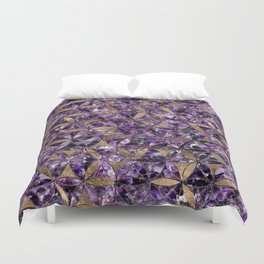 Flower of life pattern - Amethyst and Gold Duvet Cover