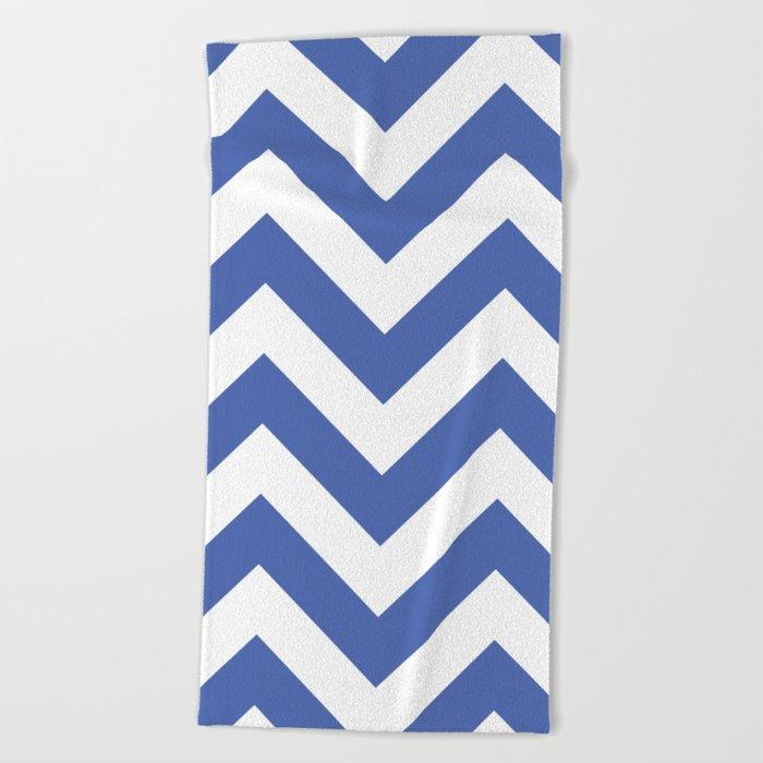 Large chevron pattern / royal blue Beach Towel