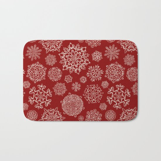 Merry Christmas- Abstract christmas snow star pattern on festive red I Bath Mat