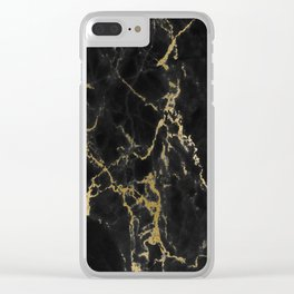 Black Gold Marble Clear iPhone Case