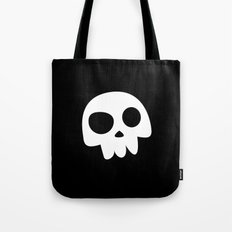 Skull Head logo with Three Teeth | Bones, white, pirates, symbolism, mortality, death, Halloween Tote Bag