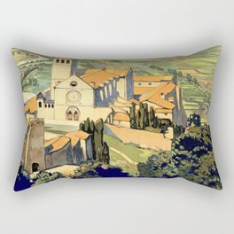 Vintage Litho Travel ad Assisi Italy Rectangular Pillow