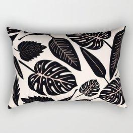 Monstera pattern in black and pastel Rectangular Pillow