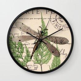 Dragonfly with Fern 1 Wall Clock