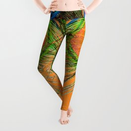 ORANGE BLUE-GREEN PEACOCK FEATHERS ART Leggings