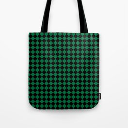 Black and Cadmium Green Diamonds Tote Bag