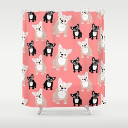 Peachy Pink Frenchies Shower Curtain