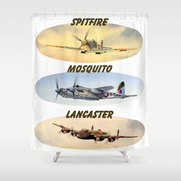 Spitfire Mosquito Lancaster Montage Shower Curtain