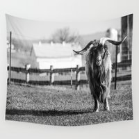 butcher billy Wall Tapestries featuring Long Horned Billy Goat_BW by JLW Photos