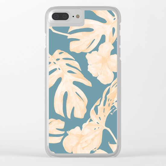 Island Vacay Hibiscus Palm Leaf Coral Teal Blue Clear iPhone Case