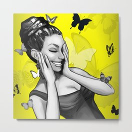Retro Pinup Girl Crazy With Laughter & Butterflies Metal Print