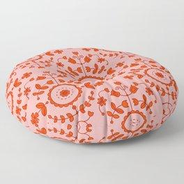 Boho Floral - Orange Floor Pillow