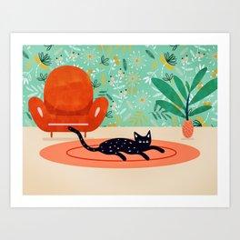 Boho Cat #illustration #whimsical Art Print