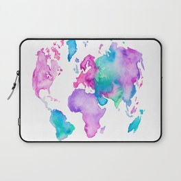 Modern world map globe bright watercolor paint Laptop Sleeve