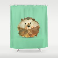 hedgehog Shower Curtains featuring Hedgehog. by Diana D'Achille