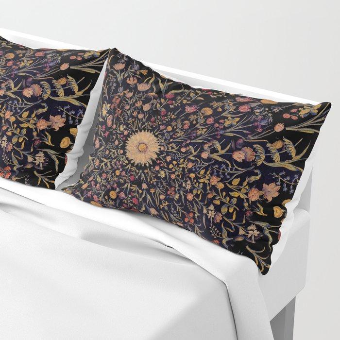 Medieval Flowers on Black Pillow Sham