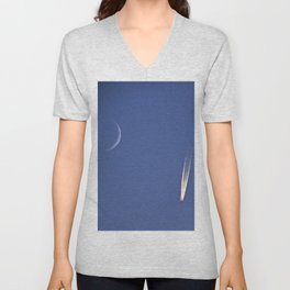 Moon and Jet in the Deep Blue Unisex V-Neck