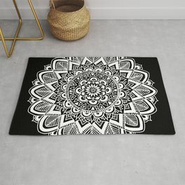 Black and White Boho Mandala Rug