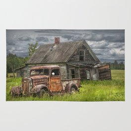 Old Vintage Pickup in front of an Abandoned Farm House Rug