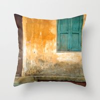 vietnam Throw Pillows featuring Antique Chinese Wall - VIETNAM by CAPTAINSILVA