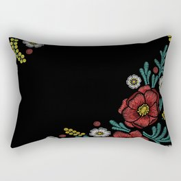 Embroidered Flowers on Black Corner 04 Rectangular Pillow