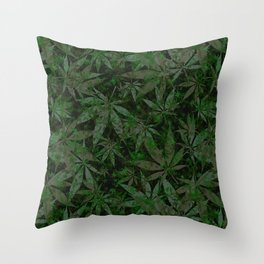 Weed leaves pattern Throw Pillow