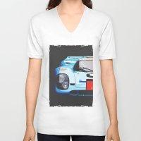 porsche V-neck T-shirts featuring Porsche 917  by Barbo's Art